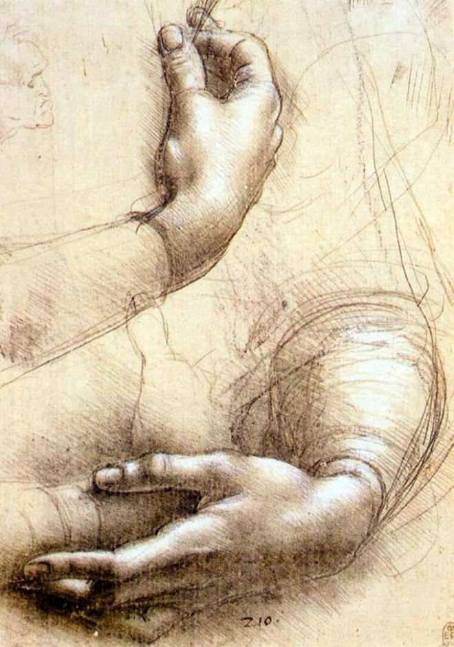 """Study of Arms and Hands"" by Leonardo da Vinci, 1474."
