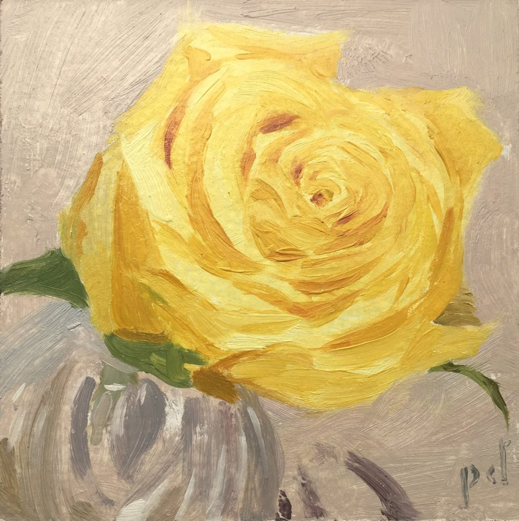 Yellow Rose in Cut Glass