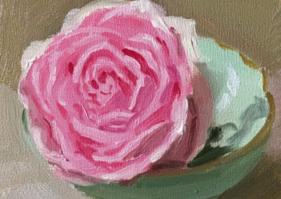 Pink Rose Green Bowl
