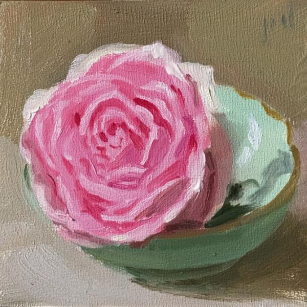 Pink Rose Green Bowl