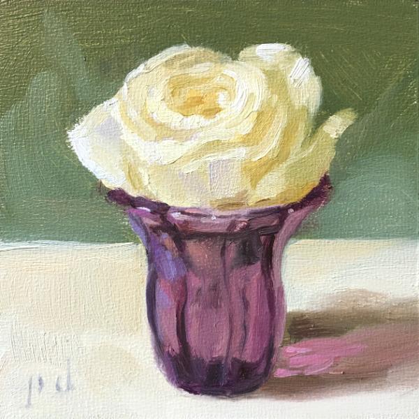 White Rose Amethyst Glass