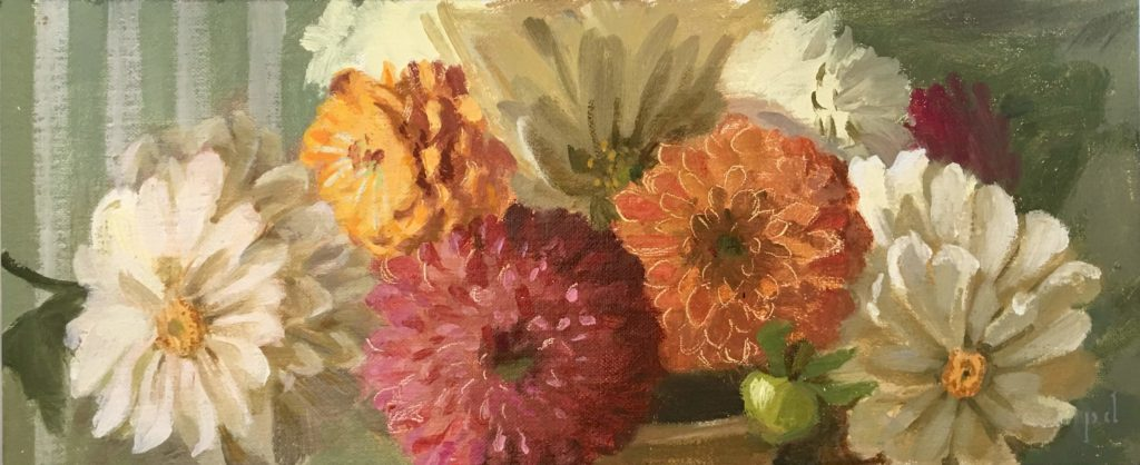The Dahlia Caper oil painting copyright 2018 by Peter Dickison